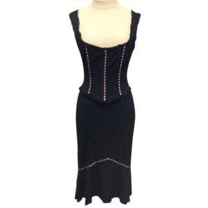 Nanette Lepore Lace and Ribbon Accent Corset Dress
